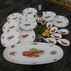 Ten Large French Seafood Plates with Gilt Edges with Matching Avocado Dishes, Entree Dishes, French Dresser, Fish Plate, French Home Decor, Vintage Plates, Dressers, Plate Sets, Platter