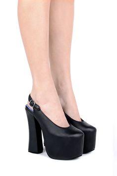 Jeffrey Campbell Shoes KAYLEE Platforms in Black Leather