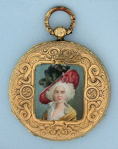 Fine, beautiful and rare Swiss ultra flat male keywind Bagnolet calibre antique pocket watch with enamel portrait circa 1830. The engraved case back with a beautifully painted portrait of a lovely woman wearing an extravagant hat. Engraved (hard to see in the photo) silver dial with gold Breguet hands. Ultra flat (particularly this early) fully engraved 4 jewel cylinder movement which winds and sets with a male key to reduce thickness. A wonderful watch in particularly fine condition.