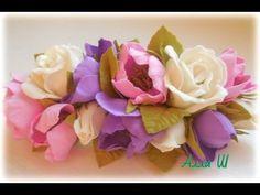 МК Цветы из фоамирана Заколка цветами из фоамирана.