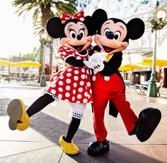 Mickey and Minnie Mouse. i didn't realise this before but their feet are really big!