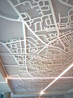 Laser cut screens - Quartz building Dublin. Suspended ceiling map of Dublin by Miles and Lincoln. www.milesandlincoln.com