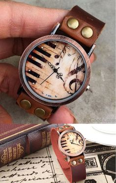 so cute watch! Handmade Piano Music Retro Leather Watch #watch #piano #music #retro #cute