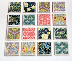 """Make these coasters as a gift or make them for your home - either way, they are sure to get noticed!    Supplies:  4 square tiles from your local hardware store (4.25"""" x 4.25"""")  4 pieces of scrapbook paper (3.75"""" x 3.75"""")  4 pieces of felt (3.75"""" x 3.75"""")  Mod Podge  Sponge brush  Glue (i.e. Fabri-tac or other strong adhesive)  Clear acrylic sealer"""