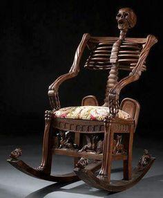 Carved Wood Skeleton Rocking Chair