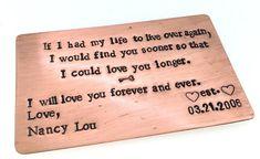 wallet insert, wallet card, aluminum, copper, anniversary gift, boyfriend gift, wallet #boyfriendanniversarygifts