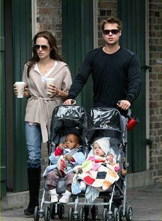 Angelina Jolie unterwegs mit Brad Pitt und Kindern