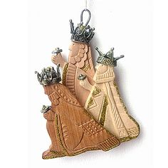 Christmas Ornament,Wd/Filigree,3 Wise Men