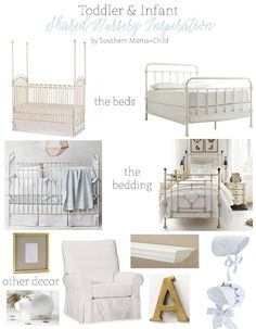Inspiration board for a shared room between an infant and toddler! Boy and girl shared room inspiration!