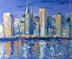 """Dam Domido, huile au couteau , Marine  sur toile 61x50 cm : """"Le soleil se couche sur New York"""""""