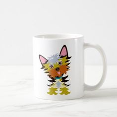 #Colorful Yorkshire Cartoon Coffee Mug - #yorkshire #terrier #puppy #terriers #dog #dogs #pet #pets #cute #yorkshireterrier