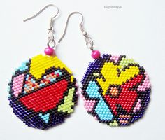 saját minta alapján Bead Jewellery, Seed Bead Jewelry, Seed Bead Earrings, Beaded Earrings, Beading Projects, Beading Tutorials, Beading Patterns, Beaded Crafts, Jewelry Crafts
