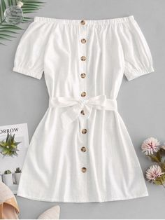 Button Up Off Shoulder Mini Dress - White S Source by joyceqmiranda clothes fashion moda Cute Casual Outfits, Cute Summer Outfits, Pretty Outfits, Stylish Outfits, Outfit Summer, Casual Summer, Pretty Dresses, Girls Fashion Clothes, Teen Fashion Outfits