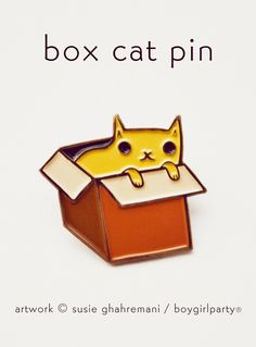 Box Cat Enamel Pin -- http://shop.boygirlparty.com/products/box-cat-pin-cat-in-box-pin-enamel-cat-pin-cat-box?variant=19967079431 -- this cat pin features a kawaii illustration of a cat in a box by Susie Ghahremani / boygirlparty® #pingame