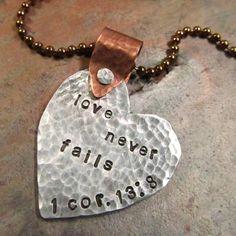 Mixed metal inspirational necklace.