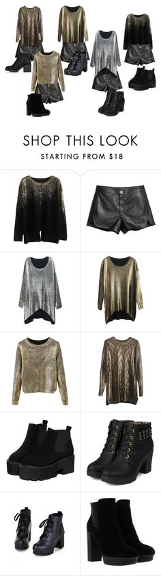 """Metallic sweaters , leather shorts, and black boots"" by ayeeeitsfatso on Polyvore featuring yeswalker, Colorful Shoes, Hogan and River Island"