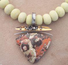 Mushroom Jasper, sterling silver, 24karat gold, serpentine beads.  Lesley Aine McKeown
