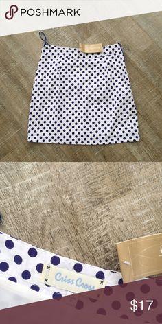 NWT! Criss Cross (Francesca's) polka dot skirt NWT! Perfect for summer! Criss Cross (Francesca's Collections) polka dot skirt. Size S. 100% cotton. Offers welcome! Francesca's Collections Skirts