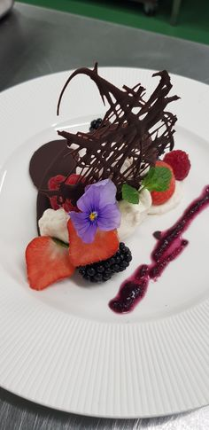 """Organic dessert """"Mille-feuilles"""" with chocolate tile and red fruits  /// Dessert bio Mille-feuilles avec tuile de chocolat et fruits rouges Tuile, Bio, Panna Cotta, Dessert, Ethnic Recipes, Red Berries, Chocolates, Dulce De Leche, Desserts"""