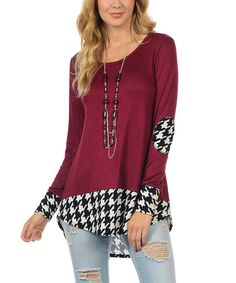 Love this Cool Melon made by Goo Yoo Wine & Black Houndstooth Hi-Low Tunic by Cool Melon made by Goo Yoo on #zulily! #zulilyfinds