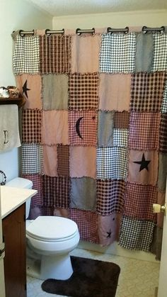 Diy Home Decor Country Bathroom Shower Curtains 18 Ideas primitive home primitive bathroom primitive ideas primitive curtains primitive signs Primitive Shower Curtains, Primitive Bathroom Decor, Rustic Bathrooms, Bathroom Shower Curtains, Country Shower Curtains, Primitive Bedroom, Primitive Furniture, Country Primitive, Primitive Homes