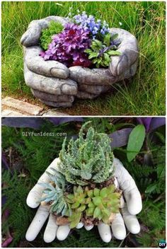 amazing ideas with cement DIY Cement Hand Planter Cup-Concrete Planter DIY Ideas Projects DIYHowto DIY Zement Hand Pflanzer Cup-Beton Pflanzer DIY Ideen Projekte Anleitung mit Video Hand Planters, Diy Cement Planters, Cement Garden, Cement Art, Concrete Cement, Garden Planters, Concrete Design, Concrete Garden Ornaments, Cement Patio