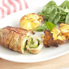 Individual mini roulades filled with a delicious spinach almond pesto, served with crispy baked potatoes.