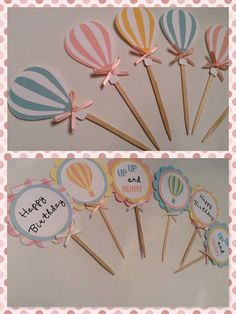 Hot Air balloon cupcake toppers food picks party picks party decor - New Deko Sites Moldes Para Baby Shower, Regalo Baby Shower, Baby Boy Shower, Happy Birthday Signs, Birthday Wishes, Birthday Celebration, Balloon Cupcakes, Cupcake Party, Balloon Garland