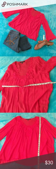 NWT Light and Flowy. Red Crochet Style Neck Top. Light and Flowy. Red Crotchet Style Neck Top. With bell sleeves. Zac & Rachel Tops