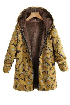 d80a66d3af895 Fashion Casual Velvet And Thick Ethnic Printed Cotton Padded Coat. Joygos. Women s  Winter ...