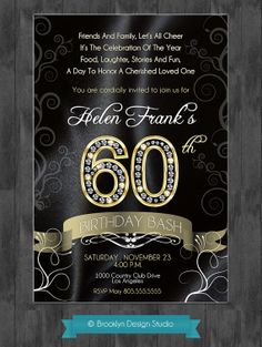 60th Birthday Party Elegant Invitation with Diamond Numbers