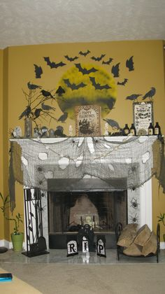 Halloween Mantle with bats & a full moon.