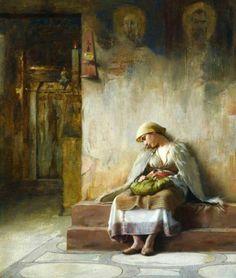 The Athenaeum - Young girl sleeping in a church - Theodoros Ralli (Greek, 1852 - Greek Paintings, Classic Paintings, European Paintings, Oil Paintings, A4 Poster, Poster Prints, Jean Leon, Girl Sleeping, Greek Art