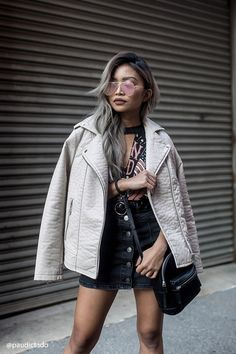A faux leather moto jacket featuring an asymmetrical zip-up front, notched lapels, two front zippered pockets, and long sleeves. Fashion Group, Fashion Outfits, Women's Fashion, Moto Jacket, Leather Jacket, Forever 21, Over 50 Womens Fashion, Color Beige, Stylish Dresses