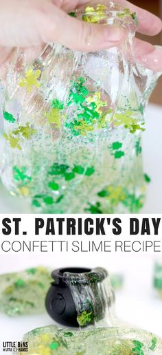 Homemade slime for St Patricks Day! Try our easy to make St Patricks Day slime recipe filled with leprechaun confetti and glitter! #howtomakeslime #stpatricksdayslime #slimerecipe #homemadeslime #slime
