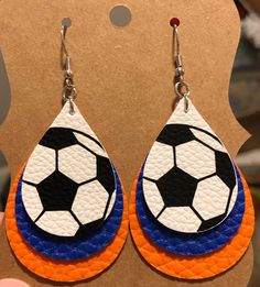 Customizable Made To Order Custom Color Soccer Ball Earrings Faux Leather Personalized Sports Fan Team Mom Diy Leather Earrings, Leather Jewelry, Earrings Handmade, Diy Earrings, Teardrop Earrings, Fine Jewelry, Jewelry Making, Homemade Jewelry, Blue Glitter