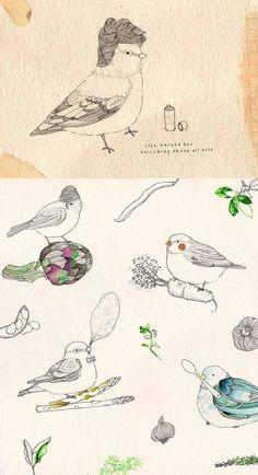 Dessin au crayon d'oiseaux