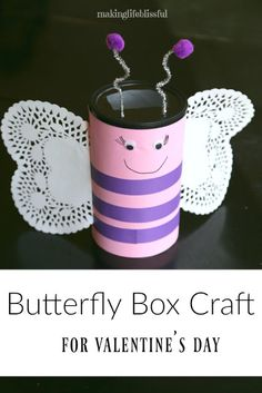 Butterfly Box Craft for Valentine s Day Making Life Blissful Butterfly Box Craft for Valentine s Day Making Life Blissful Amanda Wishop awishop Boys This cute butterfly Valentine s day box nbsp hellip Valentine for kids Valentine Boxes For School, Valentines For Kids, Valentine Crafts, Printable Valentine, Valentine Wreath, Valentine Ideas, Homemade Valentines, Valentines Day Party, Bug Crafts