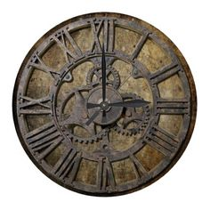 Steampunk 1 round wall clock, old fashioned design, timepiece, victorian style, Gears and Cogs with a Mechanical, engineering or steampunk theme. Metal, machinery, industrial and steampunk gift products for sale.