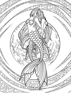 Artist Selina Fenech Fantasy Myth Mythical Mystical Legend Elf Elves Dragon Dragons Fairy Fae Wings Fairies Mermaids Mermaid Siren Sword Sorcery Magic Witch Wizard Coloring pages colouring adult detailed advanced printable Kleuren voor volwassenen coloriage pour adulte anti-stress kleurplaat voor volwassenen Line Art Black and White Mermaids