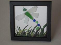 Framed Sea glass dragonfly on canvas