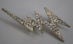 Vintage Hard Rock Style Thunder Fashion Geek Silver Color Brooch With Zircons.