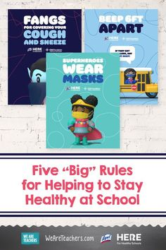 "Five ""Big"" Rules for Helping to Stay Healthy at School (Plus Free Posters. )Five simple rules for staying healthy that every kid (and grown-up!) needs to remember, including washing your hands and wearing a mask. #teachers #education #printables #health Simple Rules, How To Stay Healthy, Healthy Schools, High Touch, Classroom Rules, Kids Corner, Keep In Mind, Whats New"