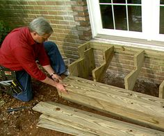 How to build wooden exterior steps...can't wait to do a little renovating the front door area this summer!