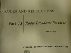 Radio Rules and Regulations part 73 January 1964 FCC