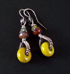 Mustard Yellow Lampwork Glass Sterling Wire