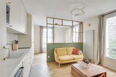 Paris Apartments, Small Apartments, Small Spaces, Studio Living, Living Room, Small Apartment Interior, Interior Architecture, Interior Design, Home Office