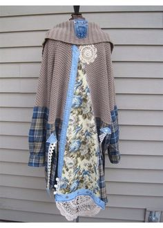 Upcycled Boho Indie Duster Jacket Medium / Large Blue Lagenlook Pearl crochet Magnolia Bird flannel Coachella Festival recycled eco friendly by sparrowdesigngroup on Etsy https://www.etsy.com/listing/231929473/upcycled-boho-indie-duster-jacket-medium