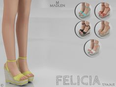 sims 4 cc // custom content clothing shoes // the sims resource // Madlen Felicia Shoes wedges Sims 4 Cc Packs, Sims 4 Mm Cc, Sims 1, Sims 4 Mods Clothes, Sims 4 Clothing, Sims Mods, Maxis, Sims 4 Traits, Sims 4 Collections