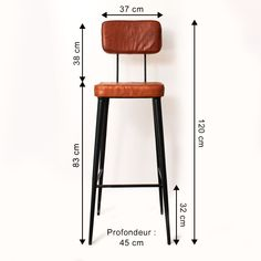 Industrial bar stool red leather and metal - stool Welded Furniture, Iron Furniture, Steel Furniture, Pallet Furniture, Industrial Bar Stools, Industrial Design Furniture, Balcony Grill Design, Design Bar Restaurant, Wood Chair Design